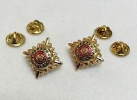 """Gold Stars, Anodised, Enameled, 5/8"""", Metal, Pips, Army, Pair, Rank Badge, New"""