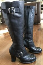 Women's Indigo by Clarks Knee Boots Black Leather Chunky Heels Buckles 7M