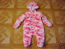 Healthtex Newborn Baby Girl Pink/White Camouflage Fleece Eared Pram 6-9 Months