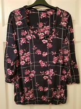 Ladies Navy & Pink Floral Print Top - size 12 - TU