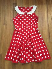 Ixia Red Dress White Polka Dots Vintage Style White Collar Medium Minnie Mouse