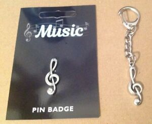 Treble Clef Silver Pewter Keyring And Pin Badge Gift Set