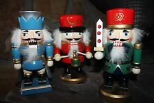 """Set of 3 Decorative Wooden Nutcrackers Adorable Detail  7.5"""" tall"""
