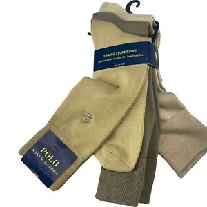 Mens 6-12.5 Polo Ralph Lauren Dress Socks 3 Pack Brown Super Soft