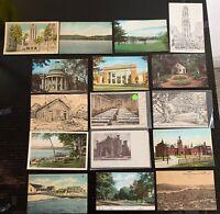 Lot of 16 Original Vintage Postcards - Connecticut- Yale, Bridgeport, Ridgefield