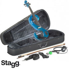 NEW Stagg EVN 4/4 S-Shaped Electric Violin Metallic Blue + Case, Rosin, Bow