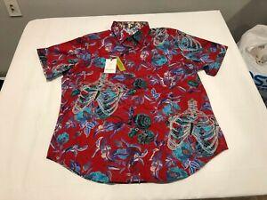 NWT $178.00 Robert Graham Mens Rib Cage SS Buttondown Red Floral / Ribs Size XL