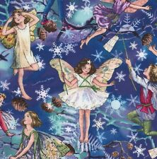 Cicely Mary Barker Flower Fairy Fairies Twilight Characters on Blue Fabric - FQ