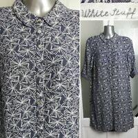 White Stuff Shirt Dress 8 Linen Blend Grey Print 3/4 Sleeve Collar Buttons