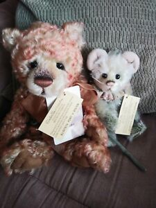 """Charlie Bears """"Port N' Stilton"""" Isabelle Lee Mohair Bear and Mouse with tags/bag"""