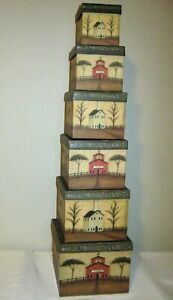 RARE & HTF Hickory Hill Schoolhouse & Church by Artist Sliney 6 Stacking Boxes