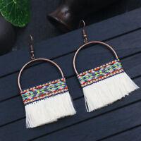 Bohemian Boho Round Hollow Tassel Drop Hook Dangle Ethnic Earrings For  Women