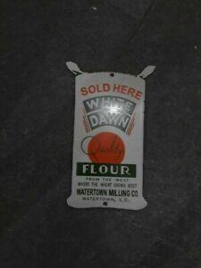 """Porcelain White Dawn Flour Enamel Sign Size 9.5"""" x 6"""" Inches"""