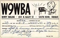 Postcard W9WBA Dewey Darling Radio Calling Card QSL South Bend, Indiana~126896