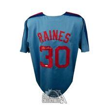 Tim Raines Autographed Montreal Expos Custom Blue Baseball Jersey - JSA COA (B)