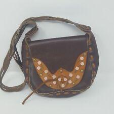 VINTAGE 1970s Handmade Painted Leather Flower Saddle Bag Boho Hippie Flap Purse