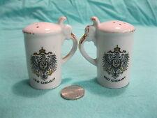 Vintage White Beer Stein Old Germany Eagle Salt and Pepper Shakers Ceramic    23