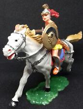 ELASTOLIN  officier romain bouclier or et noir chargeant sur son cheval au galop