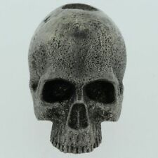 Realistic Skull Lanyard Paracord/Leather Bead in Pewter by Marco Magallona