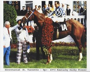 SECRETARIAT 8X10 PHOTO HORSE RACING PICTURE JOCKEY RON TURCOTTE KENTUCKY DERBY