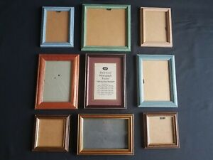 JOB LOT OF 9 VINTAGE SMALL WOODEN PICTURE FRAMES VARIOUS COLOURS