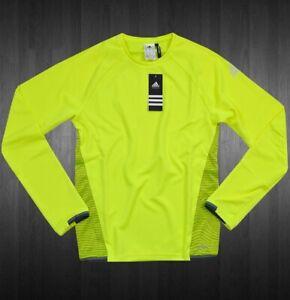 Adidas 2in1 Kids Sports Jumper T-Shirt Sweatshirt Running Long Sleeve Neon Green