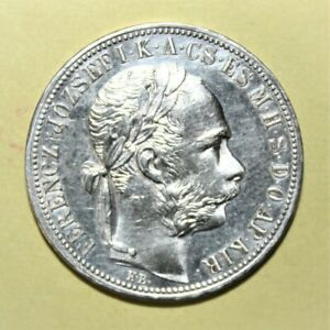 Hungary 1 Forint 1887-KB Uncirculated Silver Coin - Franz Josef I ***Scarcer