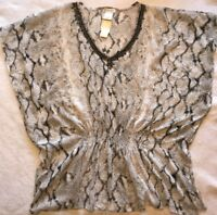 Snake Print S M Swimsuit Coverup Chiffon Embellished Sequin V Neck Dolman Tunic