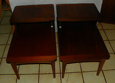 Pair of Mid Century Walnut Step End Tables / Side Tables  (RP-T556)