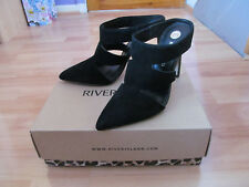 Lovely River Island New in Box Black Upper Suede Leather Court Shoes Size 6