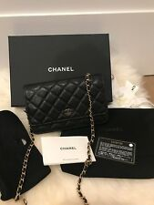 NIB Chanel Black GHW Caviar WOC Classic Flap Mini Wallet on Chain Bag
