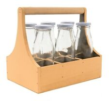Glass Bottles 6er Set 250 ML in Yellow Wooden Box Carrying Case Milk