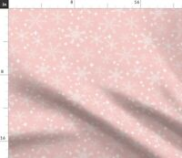 Pink Snowflakes Snowflake Winter Christmas Pink Spoonflower Fabric by the Yard