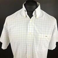 Lacoste Mens Vintage Shirt 42 (XL) Short Sleeve White Regular Fit Check Cotton