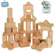 Blocks Wooden Toys Natural Wood Building Sets Block Activity Preschool Kids New