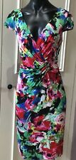Anthea Crawford Dress 14 Rose floral print multi colored short sleeve