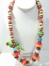 LARGE VINTAGE ISLAND WOOD PARROT NECKLACE PRETTY BEADS COLOFUL