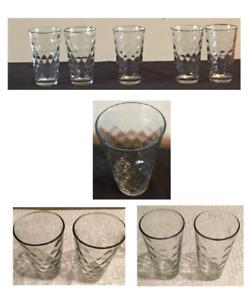 Vintage Anchor Hocking Drinking Glasses 16 oz. DOTS DIAMOND HONEYCOMB 5-Pc Set