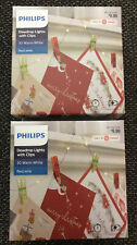 2 Philips 30ct Christmas LED Dewdrop String Lights Battery Operated w/clips Red