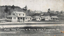 Topsham ME Pine Tree Camp's Tydol Gas Station Route 201 in 1941 Postcard