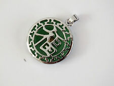 CHINESE GREEN JADE SILVER PLATED GOOD LUCK SYMBOL NECKLACE PENDANT PARTY PO E4