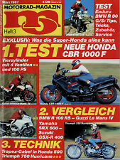 mo 3/87 1987 BMW R 100 RS 80 G/S Moto Guzzi Le Mans CBR1000F SRX6 X75 Hurricane