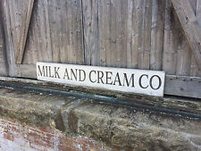 "Large Rustic Wood Sign - ""Milk and Cream Co"" - 4 Ft Long - Farmhouse, Rustic"