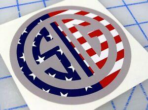 Sig Sauer Round Decal Sticker Red White and Blue American Flag - USA RWB