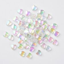 10 Perlen Acryl Herz 23x20mm Perlen Basteln Schmuck Bunt Steinimitat 2470