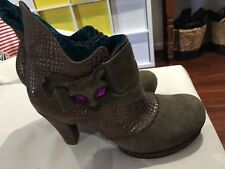 IrregularChoice Miaow PewterGrey BronzeSuede Tortoiseshell Leather Ankle Boots