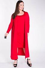 MAXI JERSEY DRESS & MATCHING LONGLINE CARDIGAN  / JACKET SET SIZE 20/22 RED BNWT