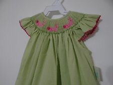 Betty Terrell Girl Smocked Bishop Green Bunnies 6 Months SALE!!!