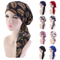 Ladies Stretch Muslim Hair Loss Head Scarf Head Wrap Turban Cancer Hat Chemo Cap