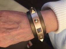 """Sharif """"Rock Stud"""" Leather Color Block Cuff Brown/Champagne Set of 2 NEW"""